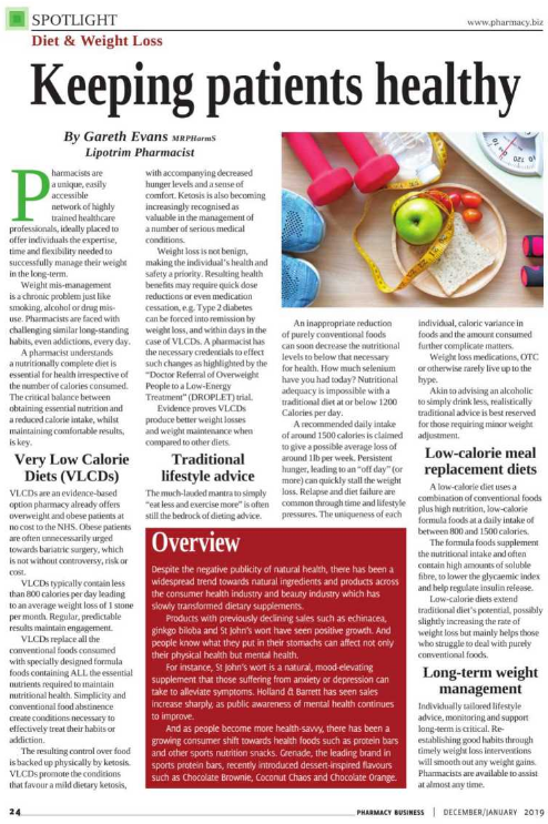 Gareth Evans MRPHarmS Pharmacy Business magazine Lipotrim editorial Jan 19 - keeping patients healthy